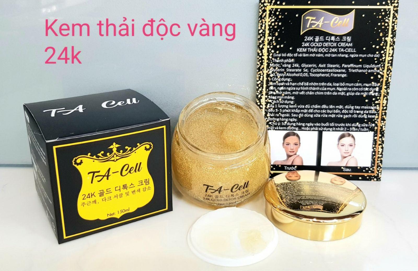 Kem thải độc vàng 24k, loại bỏ độc tố, mờ nám, tàn nhang, ngừa mụn, Kem thải độc Hàn quốc, kem thải độc TA-Cell
