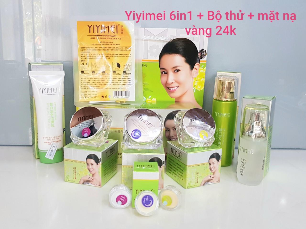 Kem trị nám yiyimei chính hãng, Kem trắng da Yiyimei 6in1 trị nám, tàn nhang kết hợp làm trắng (phải có bộ thử và mặt nạ vàng 24k kèm theo)